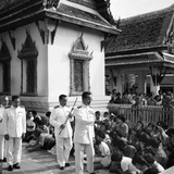His Majesty King Bhumibol Adulyadej Blessing the Crowd at the Emerald Temple Temple, 1978 Photographic Print