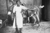 Pueblo Girl and Burro, 1900 Photographic Print by  American Photographer