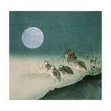 Quails and Full Moon, C.Early 1900s Giclee Print by Tsukioka Kogyo