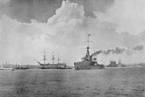 A Century Between: The Dreadnought Steaming Past the Victory, Illustration from 'The Graphic',… Fotografisk trykk av  English Photographer