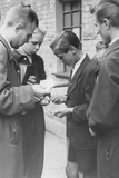 "German Youths Exchanging ""Ostgeld"" (East German Money) for West German Marks Following the… Photographic Print by  German photographer"