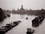 River Barges Coming Down on Chao Phraya River with a View of Wat Chaiwatthanaram, 1980 Photographic Print