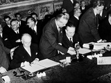 Antonio Segni and Gaetano Martino Signing the Treaties of Rome, Establishin Photographic Print