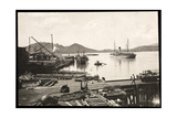 View of Pier and Ship in the Harbor at Balboa, Panama, the Pacific Entrance to the Canal, 1912 or… Giclee Print by  Byron Company
