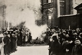 Burning the Emblems of Royalty, 1917 Photographic Print by  Russian Photographer