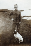 Russian Soldier with Dog, 1914-18 Photographic Print by  Russian Photographer