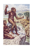 Neanderthal Mankind, Illustration from 'The Outline of History' by H.G. Wel Giclee Print by Harry Hamilton Johnston
