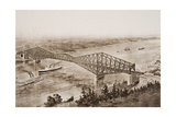 Quebec Bridge over the St. Lawrence River, Canada, Illustration from 'The Outline of History' by… Giclee Print by  English School