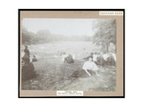 View of Men and Women Seated on Grass Watching Lawn Tennis in Central Park, New York, c.1917 Giclee Print by  Byron Company