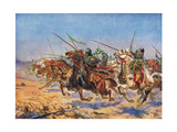The Cavalry of Shahrbaraz Charging, Illustration from 'Hutchinson's History of the Nations' Giclee Print by John Harris Valda