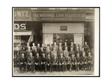 Group of Men of the National Cash Register Co. Posed in Front of the Broadway and 28th Street… Giclee Print by  Byron Company