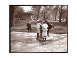 Five Children Playing and Drinking at Fountain in Madison Square, New York, 1901 Giclee Print by  Byron Company