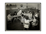 Young Blind / Visually Impared Children with a Female Teacher in the Nursery at the New York… Giclee Print by  Byron Company