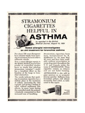 Advertisement for 'stramonium Cigarettes', 1960s Giclee Print by  English School
