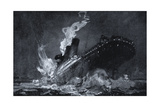 RMS Titanic of the White Star Line Sinking after Hitting an Iceberg in the North Atlantic Giclee Print by Henry Reuterdahl