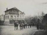 Cavalry Passing by a Railway Station Hotel, 1918 Photographic Print by  English Photographer