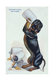 A Dachshund Drinking Beer, c.1900 Giclee Print by Ulrich Weber