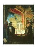 A Scene in a Theatre: a Performance Seen from a Box in Which Three Figures are Standing, 1908 Giclee Print by James Dickson Innes