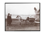 Two Men, Pony and Cart, New York, 1910 or 1911 Giclee Print by  Byron Company