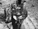 Reading a Newspaper in the Trenches, 1916-17 Photographic Print by  English Photographer