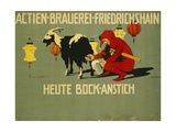 German Advertisement for 'Bock' Beer, Printed by Verlag Reklamekunst Curt Behrends Und Co.,… Giclee Print by Hans Lindenstaedt