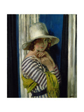 Mrs Hone in a Striped Dress, 1912 Gicleetryck av Sir William Orpen