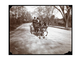 Anna Held and Florenz Ziegfeld Driving a Horsedrawn Carriage, New York, 1904 Giclee Print by  Byron Company