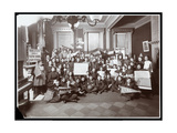 Group of Young Men and Women Posed at the People's Institute, New York, 1905 Giclee Print by  Byron Company