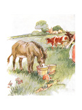 'Saw Two Pails Full of Milk and Had a Long Lovely Drink', Illustration from 'The Naughty Neddy… Gicleetryck av Anne Anderson