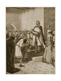 King Edward I Presenting His Infant Son Edward to the Welsh Chieftains in Carnarvon Castle as… Giclee Print by Charles Daniel Ward