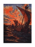 The Return of the Vikings Giclee Print by John Harris Valda