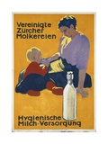 Swiss Poster Promoting the Dairy Industry, Printed by Graph. Anstalt Je Wolfensberger, Zurich, 1915 Gicléetryck av Emil Cardinaux