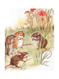 'Am Staying with Friends in the Country', Illustration from 'The Mischievious Mousie Book',… Gicleetryck av Anne Anderson