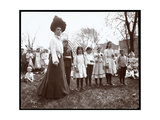 Woman with Children Holding Flags on Arbor Day at Tompkins Square Park, New York, 1904 Giclee Print by  Byron Company