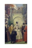 Queen Elizabeth I Knighting Sir John Young on the Steps of His Property, th Giclee Print by Ernest Board