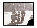 View of an Ice Cream Peddler on the Street, with Three Newsboys Buying Ice Cream, New York, c.1901 Giclee Print by  Byron Company