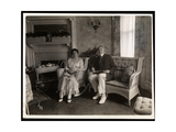 Portrait of Mr. and Mrs. Howard Seated Posed in a Sitting Room in their Home at 200 5th Avenue,… Giclee Print by  Byron Company