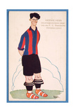Postcard Depicting a Caricature of the Spanish Footballer Vicente Piera of Barcelona Giclee Print by  Spanish School
