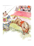 'The Clown Was So Silly Today - I Kicked Him Quite Hard', Illustration from 'The Naughty Neddy… Gicleetryck av Anne Anderson