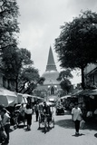 Street Scene with a View of the Phra Pathom Chedi Photographic Print