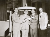 Wernher Von Braun, Willy Ley, Walt Disney, and Heinz Haber in Preparation f Photographic Print by  German photographer