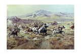 Stagecoach Attack Giclee Print by Charles Marion Russell