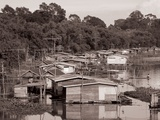 Floating Houses Were Still Seen Along Rivers in the Early 1980s Photographic Print
