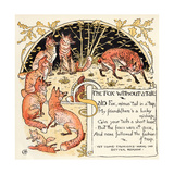 The Fox Without a Tail, Illustration from 'Baby's Own Aesop', Engraved and Printed by Edmund… Lámina giclée por Crane, Walter
