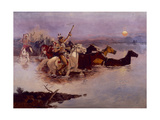Crossing the River Charles Giclée-tryk af Charles Marion Russell