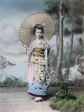 Young Japanese Girl in a Kimono and with a Parasol, Mt.Fuji in the Background, c.1900 Photographic Print by  Japanese Photographer