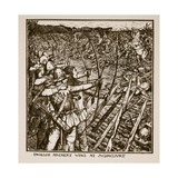 English Archery Wins at Agincourt, Illustration from 'A History of England' Giclee Print by Henry Justice Ford