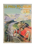 Poster Advertising 'Michelin Tyres are Faster Than Rail!' Giclee Print by Ernest Montaut
