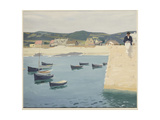 Boy Reading on a Harbour's Edge Giclee Print by William Strang