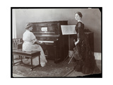 Women Playing a Player Piano and a Violin, New York, 1907 Giclee Print by  Byron Company